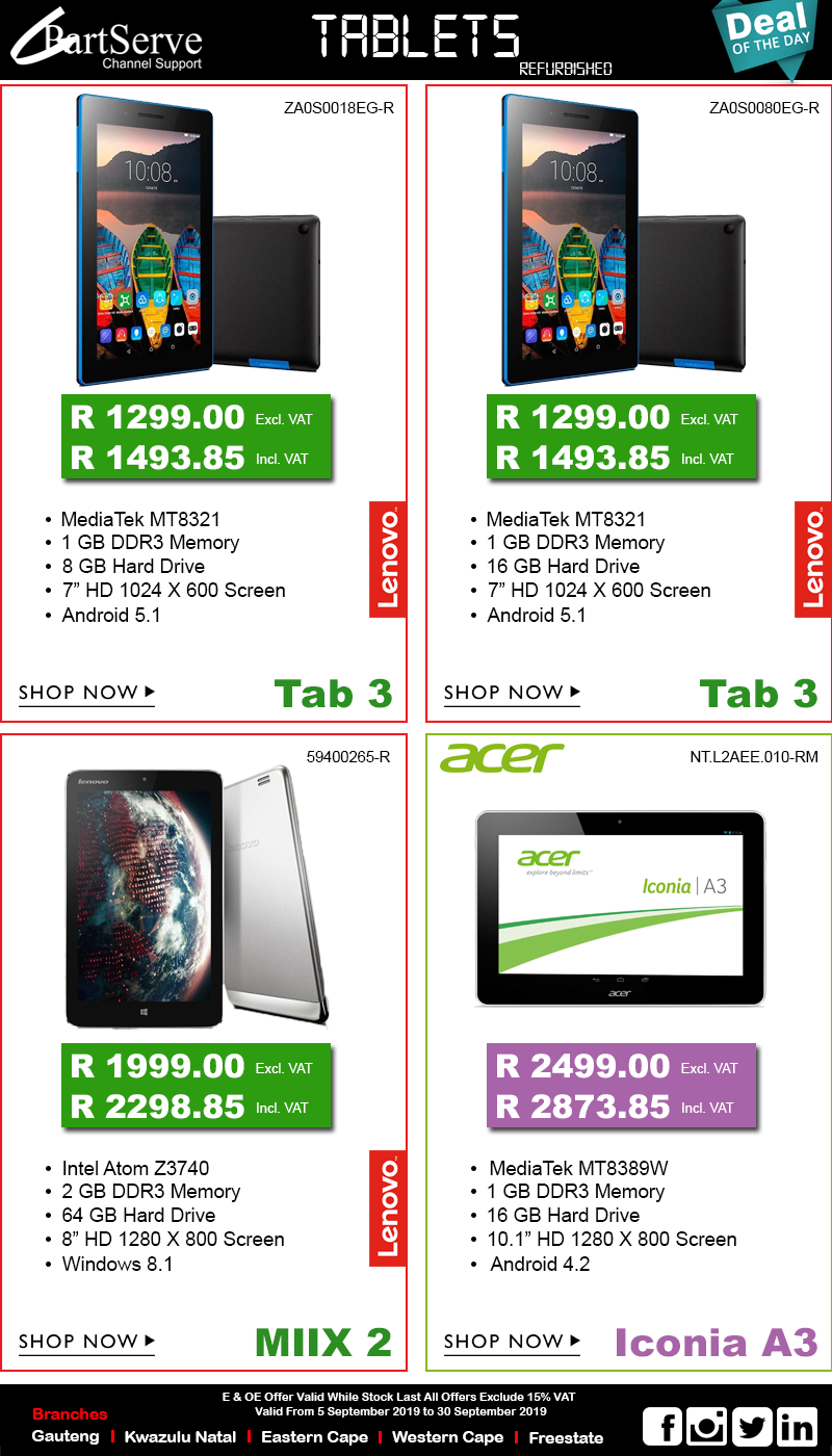 Acer and Lenovo Tablets